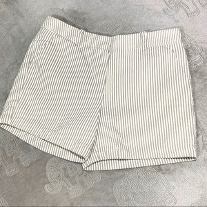 Sandro Cream Striped High Rise Chino Shorts